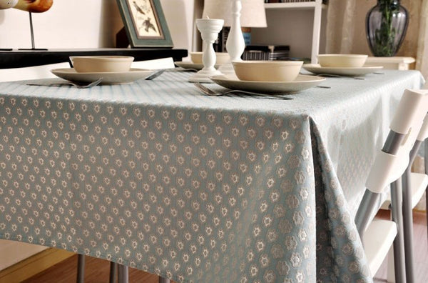 Luxury Table Decor, Jacquard Tablecloth, Large Flax Table Cloth, Linen Table Cover - Silvia Home Craft