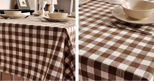 Brown Plaid Buffalo Check Tablecloth, Overlay Plaid Table cloth, Table Topper, Farmhouse Cottage Country Decor - Silvia Home Craft