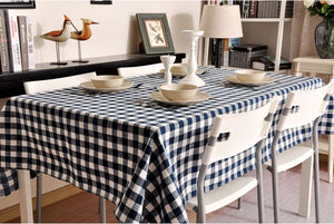 Blue Plaid Buffalo Check Tablecloth, Overlay Plaid Table Cloth, Table Topper, Farmhouse Cottage Country Decor - Silvia Home Craft