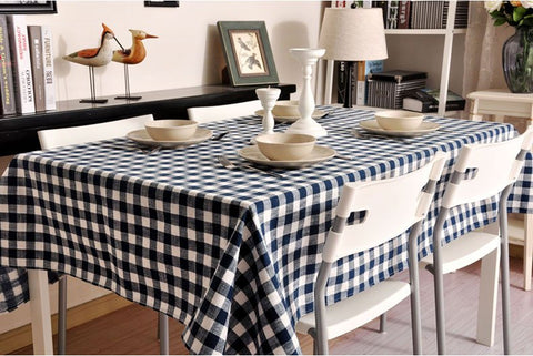 Blue Plaid Buffalo Check Tablecloth, Overlay Plaid Table Cloth, Table Topper, Farmhouse Cottage Country Decor