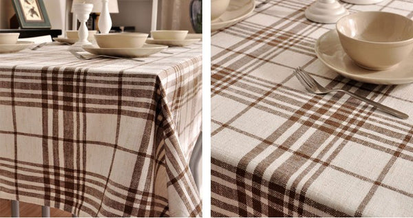 Brown Large Plaid Buffalo Check Tablecloth, Overlay Plaid Table Cloth, Table Topper, Rustic Home Decor - Silvia Home Craft