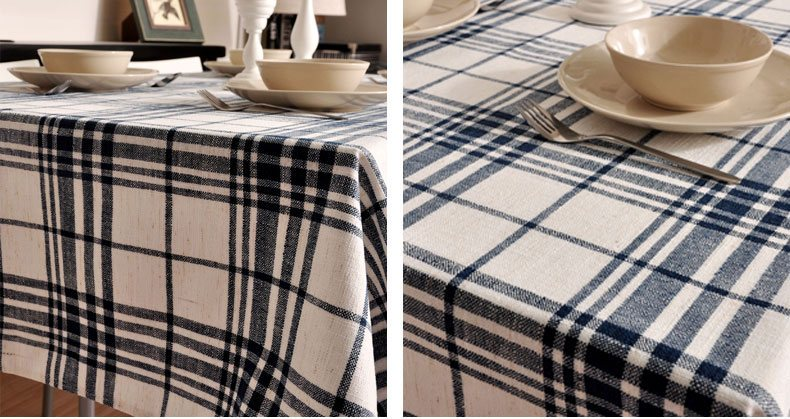 Blue Large Plaid Buffalo Check Tablecloth