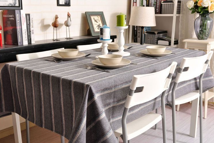 Dark Grey Stripe Linen Tablecloth, Rustic Table Cloth, Dining Kitchen Table Cover - Silvia Home Craft