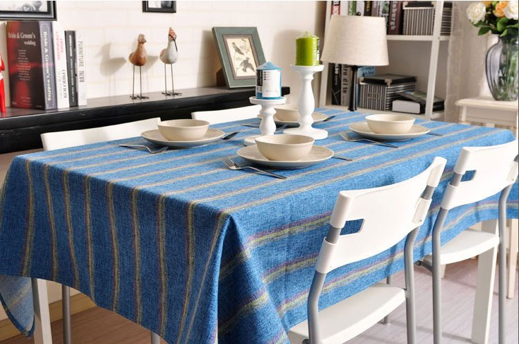 Blue Stripe Linen Tablecloth, Large Rectangle Table Cloth, Dining Kitchen Table Cover - Silvia Home Craft