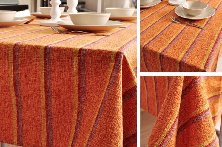 Orange Stripe Linen Tablecloth