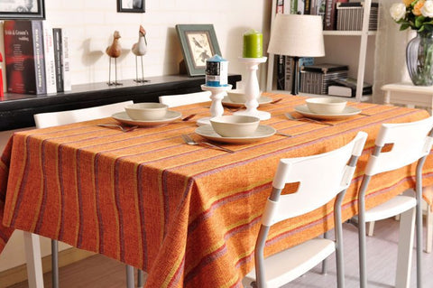 Orange Stripe Linen Tablecloth, Large Rectangle Table Cloth, Dining Kitchen Table Cover - Silvia Home Craft