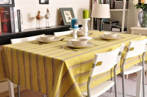 Green Stripe Linen Tablecloth, Large Rectangle Table Cloth, Dining Kitchen Table Cover - Silvia Home Craft