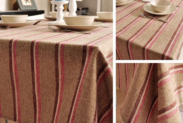 Khaki Stripe Linen Tablecloth, Large Rectangle Table Cloth, Dining Kitchen Table Cover - Silvia Home Craft