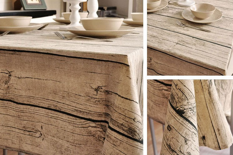 Wood Grain fabric Table Cloth