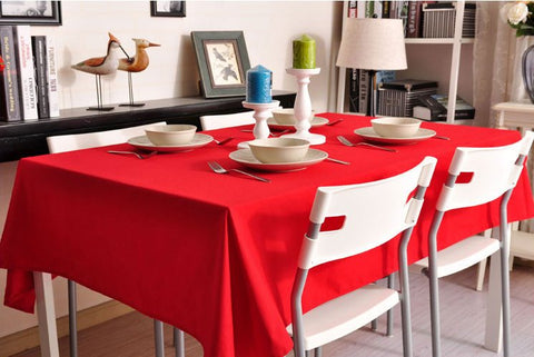 Red Tablecloth, Rustic Home Decor , Pure Cotton Tablecloth, Table Cover - Silvia Home Craft