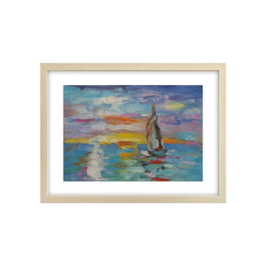 Art Painting, Canvas Painting, Small Heavy Texture Oil Painting, Sail Boat Painting - Silvia Home Craft