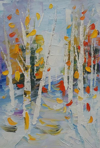Birch Painting, Canvas Painting, Heavy Texture Oil Painting, Small Painting - Silvia Home Craft