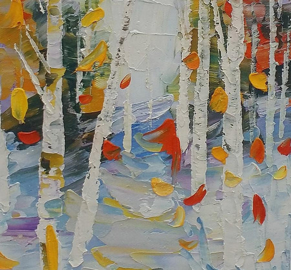Birch Painting, Canvas Painting, Heavy Texture Oil Painting, Small Painting