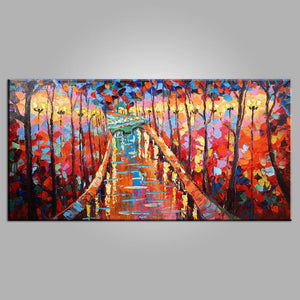 Autumn Park Painting, Canvas Art, Bedroom Wall Art, Modern Art, Painting for Sale, Contemporary Art, Abstract Art