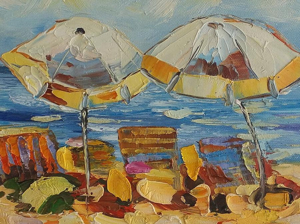 Canvas Painting, Seashore Beach Painting, Small Painting, Heavy Texture Oil Painting