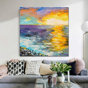 Seascape Sunrise Painting, Abstract Landscape Painting, Heavy Texture Wall Art Painting, Bedroom Wall Art Ideas