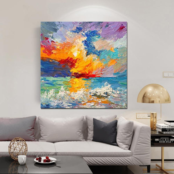 Abstract Landscape Painting, Seascape Sunrise Painting, Large Landscape Painting for Sale, Heavy Texture Art Painting