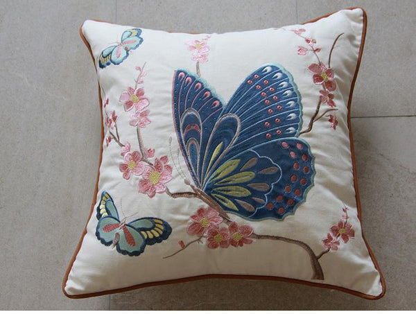 Embroider Butterfly Cotton and linen Pillow Cover, Decorative Throw Pillow, Sofa Pillows, Home Decor - Silvia Home Craft