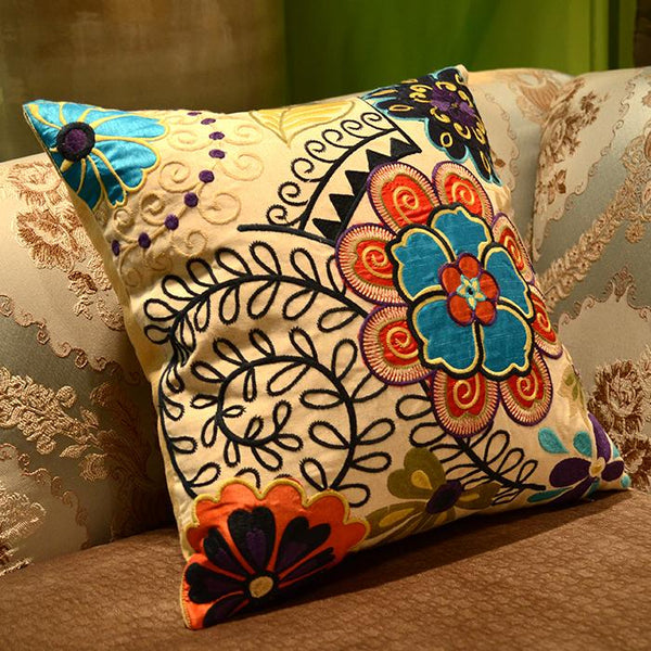 Flower Cotton and linen Embroider Pillow Cover, Decorative Throw Pillow, Sofa Pillows - Silvia Home Craft