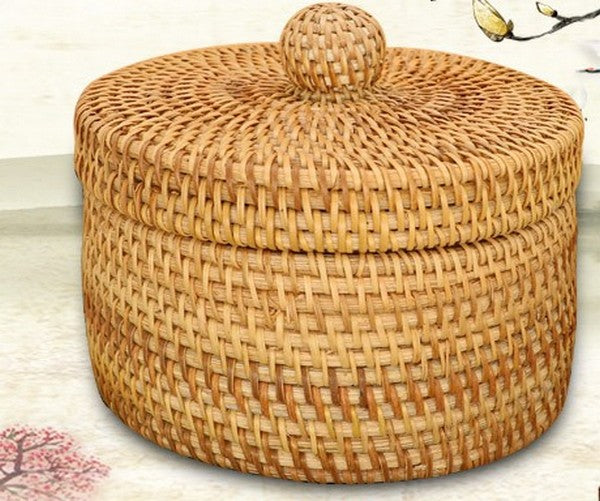 Rustic Basket, Vietnam Handmade Storage Basket, Woven Basket With Cover U2013  Silvia Home Craft
