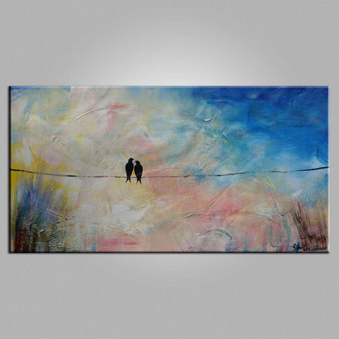 Abstract Art, Love Birds Painting, Modern Art, Contemporary Art, Art for Sale, Buy Abstract Painting - Silvia Home Craft