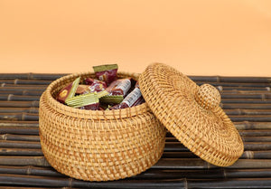 Rustic Basket, Vietnam Handmade Storage Basket, Woven Basket with Cover, Home Decor