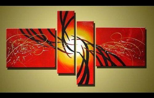 Red Abstract Art, 4 Piece Canvas Art, Acrylic Painting for Sale, Contemporary Art - Silvia Home Craft