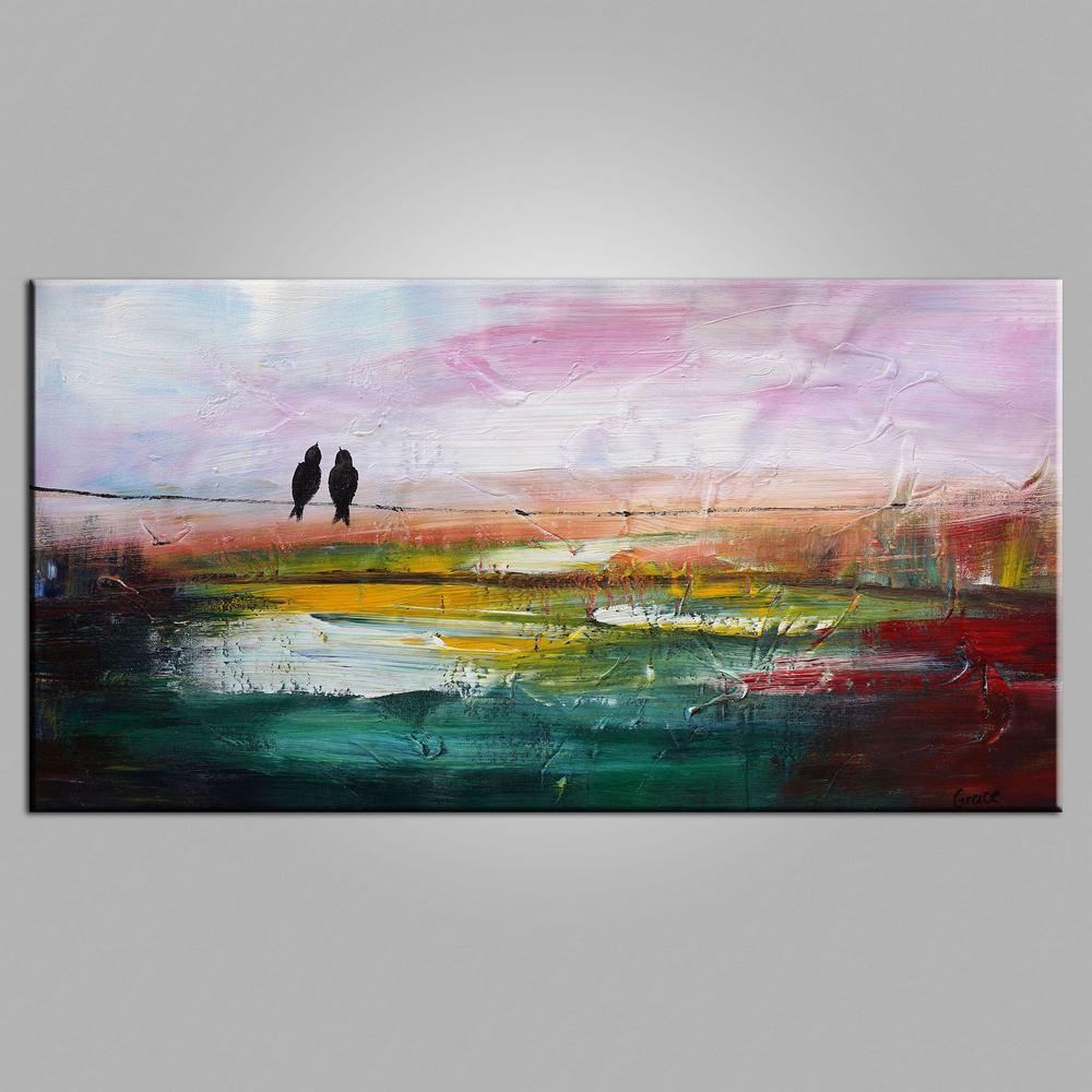 Contemporary Wall Art, Modern Art, Abstract Art, Love Birds Painting, Art for Sale, Abstract Art Painting, Living Room Wall Art, Canvas Art