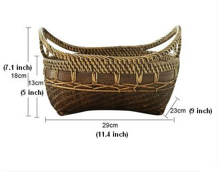 Indonesia Hand Woven Storage Basket, Natural Bamboo Baskets, Small Rustic Basket - Silvia Home Craft