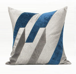 Dark Blue Embroidered Geometric Square Pillows, Modern Throw Pillow, Sofa Pillows, Couch Pillows - Silvia Home Craft