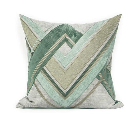 Gray Green Geometric Sticker Embroidered Square Pillows, Modern Throw Pillow, Sofa Pillows, Couch Pillows - Silvia Home Craft