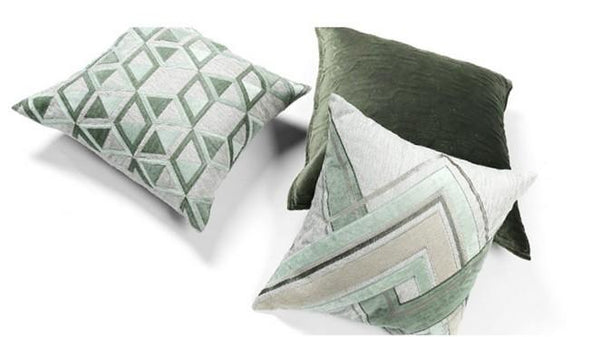 Gray Green Geometric Sticker Embroidered Square Pillows, Sofa Pillows, Couch Pillows, Modern Throw Pillow - Silvia Home Craft