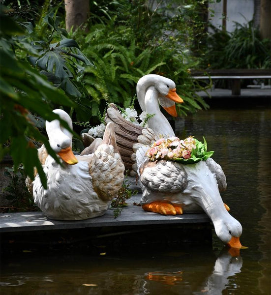 Extra Large Swan Flower Pot, Swan Statues, Animal Statue for Garden Ornament, Villa Courtyard Decor, Outdoor Decoration, Garden Ideas