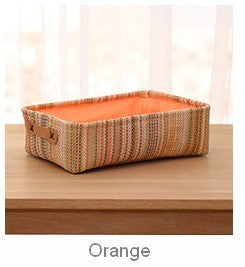 Woven Straw Basket with Lining, Storage Basket, Rectangle Basket