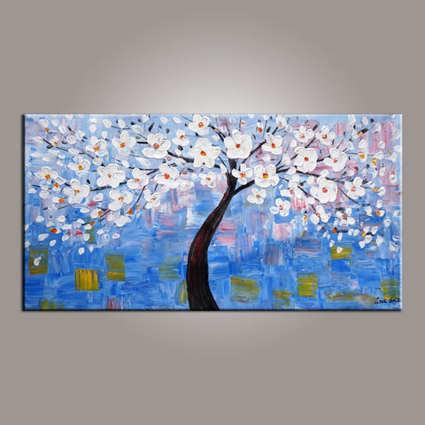 Abstract Canvas Art, Flower Tree Painting, Tree of Life Painting, Painting on Sale, Contemporary Art - Silvia Home Craft