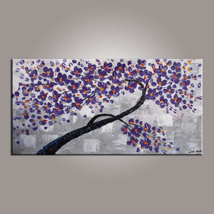 Painting on Sale, Purple Flower Tree Painting, Abstract Art Painting, Dining Room Wall Art, Art on Canvas, Modern Art, Contemporary Art