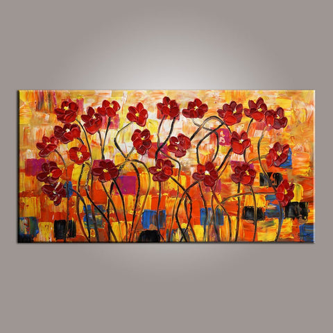 Spring Flower Painting, Canvas Wall Art, Painting for Sale, Flower Art, Abstract Art Painting, Bedroom Wall Art, Canvas Art, Modern Art, Contemporary Art - Silvia Home Craft