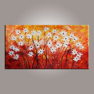 Canvas Wall Art, Flower Art, Abstract Art Painting, Acrylic Painting, Bedroom Wall Art, Canvas Art, Modern Art, Contemporary Art - Silvia Home Craft