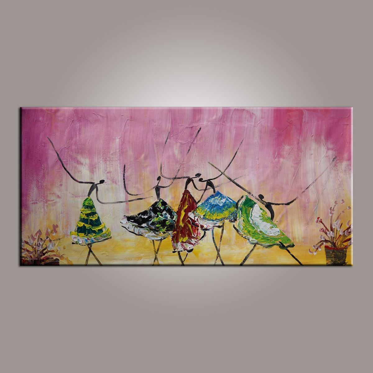 Large Art, Ballet Dancer Art, Canvas Painting, Abstract Painting, Abstract Art, Wall Art, Wall Hanging, Bedroom Wall Art, Modern Art, Painting for Sale - Silvia Home Craft