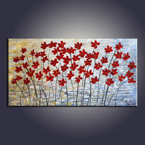 Art Painting, Flower Art, Contemporary Art, Modern Art, Abstract Art Painting, Canvas Wall Art, Living Room Wall Art, Canvas Art - Silvia Home Craft