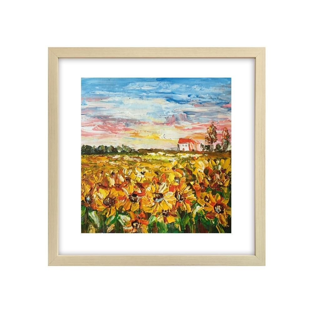 Abstract Art Painting, Flower Painting, Sunflower Field Painting, Small Landscape Painting - Silvia Home Craft