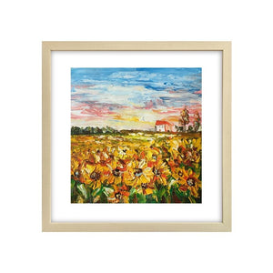 Abstract Art Painting, Flower Painting, Sunflower Field Painting, Small Landscape Painting