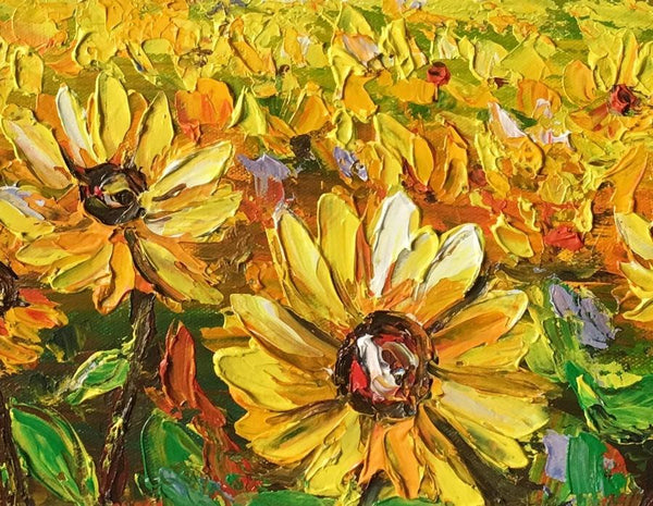 Abstract Landscape Painting, Heavy Texture Painting, Sunflower Painting, Small Painting - Silvia Home Craft