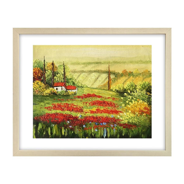 Red Poppy Field Painting, Landscape Art Painting, Canvas Painting, Small Painting - Silvia Home Craft