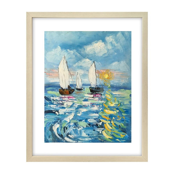 Canvas Art Painting, Sail Boat Sunrise Painting, Small Art Painting, Small Painting