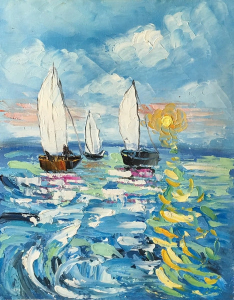 Canvas Art Painting, Sail Boat Sunrise Painting, Small Art Painting, Small Painting - Silvia Home Craft