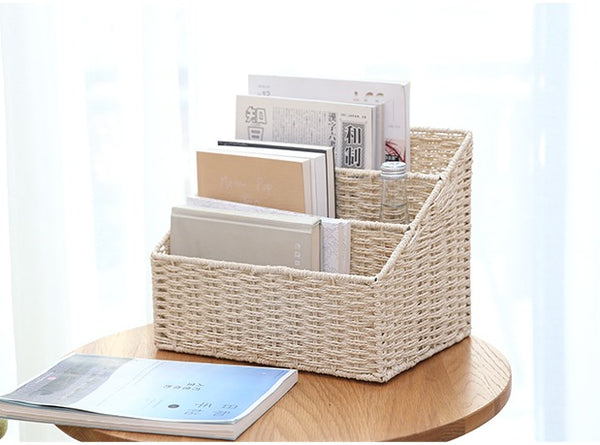 Woven Straw File Folder Racks, Storage File Folder, File Box - Silvia Home Craft