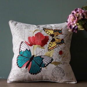 Embroider Butterfly Cotton and linen Pillow Cover, Decorative Throw Pillow, Sofa Pillows, Home Decoration - Silvia Home Craft