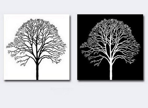 Canvas Painting, Black and White Art, Abstract Painting, Wall Hanging, Tree of Life Art Painting - Silvia Home Craft
