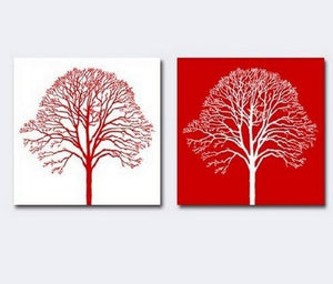 Red and White Art, Tree of Life Painting, Canvas Painting, Abstract Art, Abstract Painting, Wall Art, Wall Hanging, Dining Room Wall Art, Hand Painted Art - Silvia Home Craft
